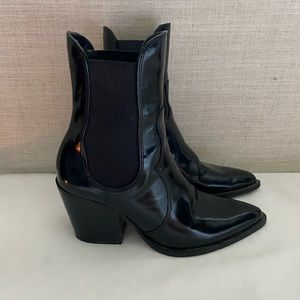 Zara Patent Leather Cowboy Boots